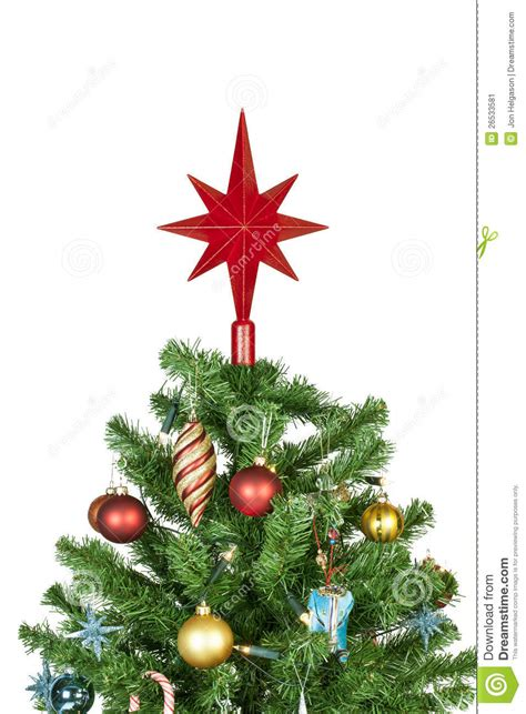 christmas tree top with ornaments stock image image