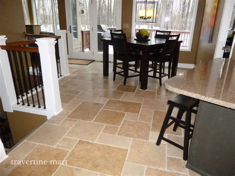 Dining Room Tile Walnut Brushed Chiseled Travertine Tile Flooring Tiles Traditional Dining Room Detroit