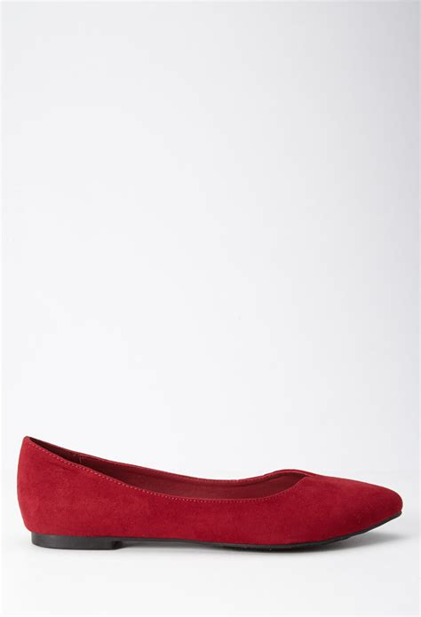 forever 21 flat shoes lyst forever 21 faux suede pointed flats in
