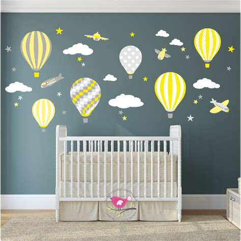 Hot Air Balloon Jets Wall Stickers Nursery Wall Decals Uk