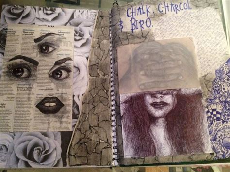 year sketchbook chalk and charcoal biro drawing identity gcse