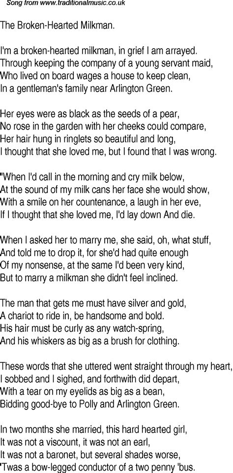 Old Time Song Lyrics for 11 The Broken Hearted Milkman