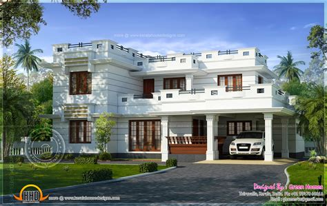flat roof luxury home design kerala floor plans building beautiful flat roof house design square feet kerala home