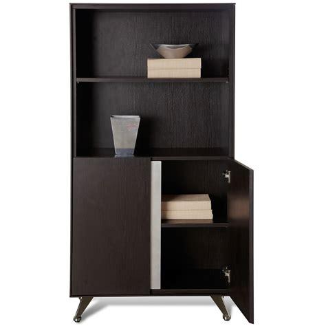 espresso bookcase with doors contemporary bookcase with doors espresso dcg stores