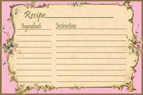 Free Retro Recipe Card Templates by Pink Printable Recipe Card Template 3x5 3 5x5 Blank