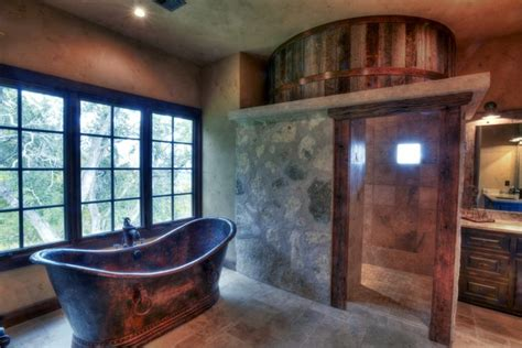 hammered copper bathtub 20 rustic bathroom designs with copper bathtub