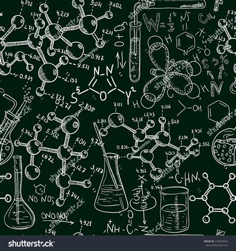 pattern background science science old chemistry laboratory seamless pattern stock