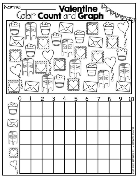 math counting coloring pages valentine color count and graph early childhood math