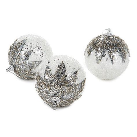 White Balls Ornaments - silver white beaded white ornaments 5 pack big lots