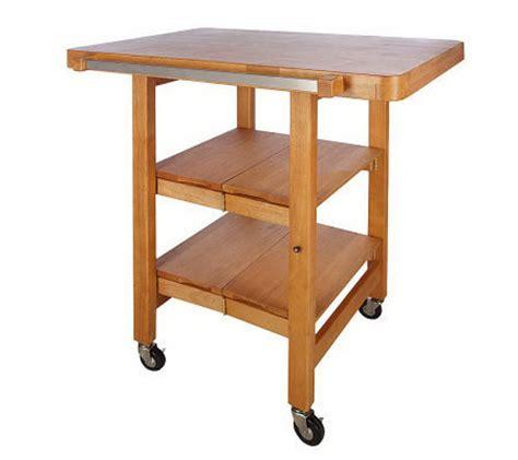 folding kitchen island cart folding island rectangular kitchen cart w butcher block style top page 1 qvc