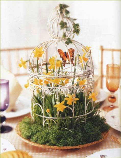 spring decorating give your home a chic decor by reusing your old bird cage