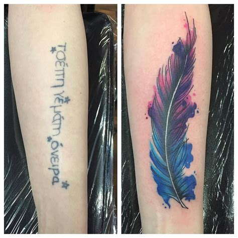 feather cover up tattoo cover up from this week by sarahjanetattoo i could get my