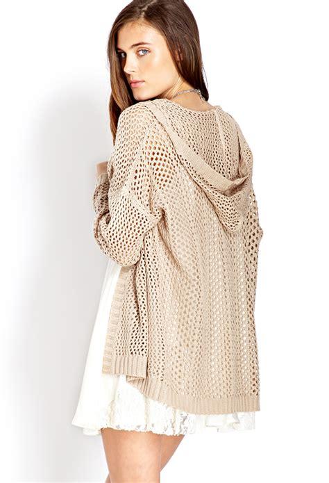 open knit cardigan hooded open sweater coat nj