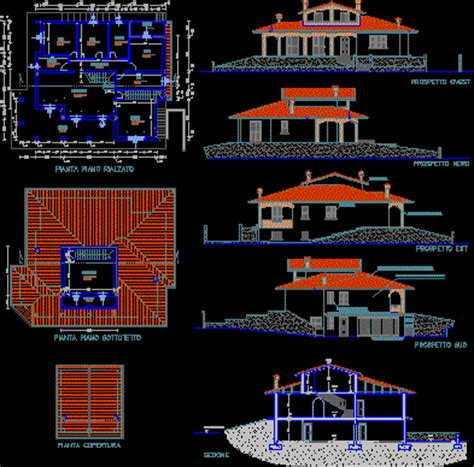 Triplex House Plans villa residential in autocad drawing bibliocad