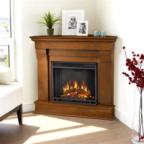 real chateau corner electric fireplace in espresso