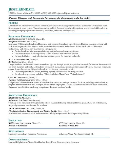 art teacher resume objective exles
