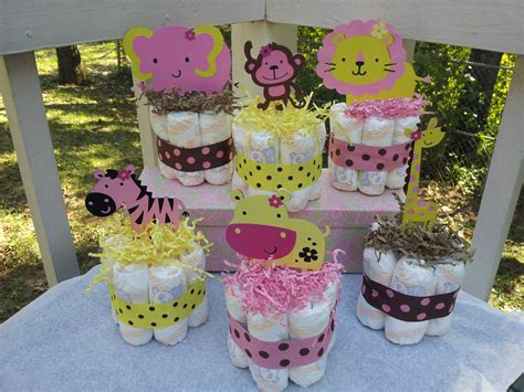 1 Jungle Theme Mini Diaper Cake Baby Shower By | 6 jungle theme mini diaper cakes for girl baby shower