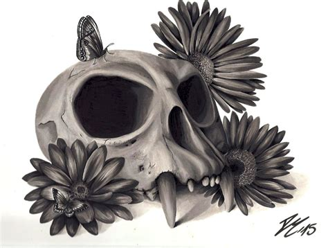 Skull And Flower skull sketch with flowers www imgkid the image kid