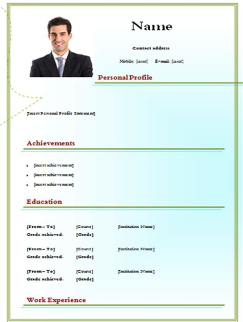 simple cv model with picture edtable cv