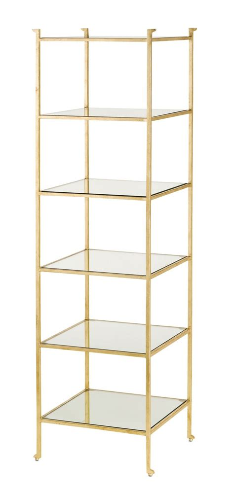 Narrow Etagere cyrus narrow etagere in gold leaf with a gold leaf frame and glass shelves the cyrus etagere in