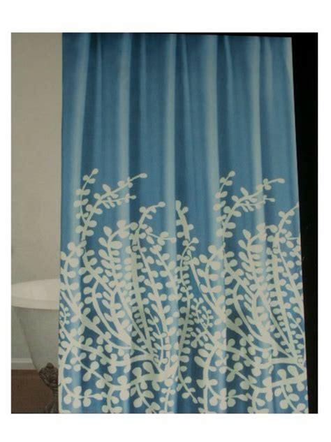 blue fabric shower curtain blue white branches fabric shower curtain