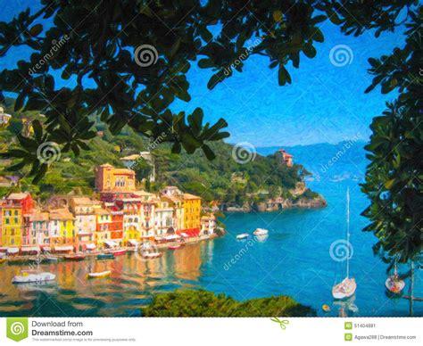 Mediterranean Style House Plans portofino italy oil painting style illustration stock
