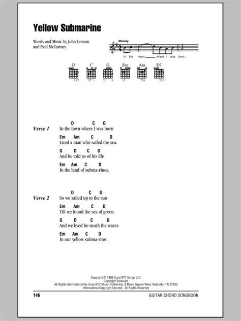 guitar tutorial yellow submarine yellow submarine sheet music direct