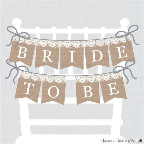 Printable Bridal Shower Chair Banner   Burlap and Lace