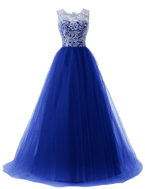 Sweety Lace Dress Blue 18 Lovely 2015 dressystar prom gowns lace tulle evening wedding