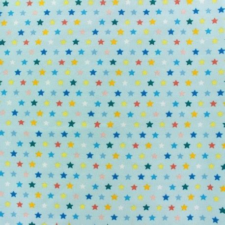 light blue jersey fabric jersey fabric multi stars light blue x 10cm ma petite