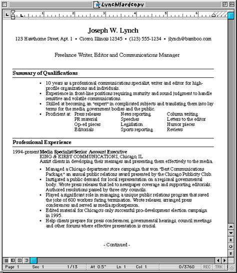 plain text resume format compare plain text and word resumes susan ireland s resume site