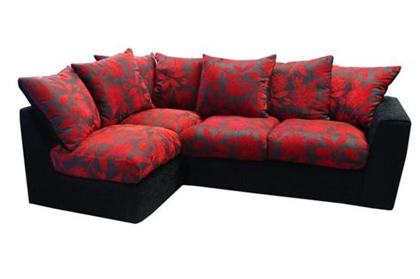 Samantha Black And Red Left Hand Corner Sofa 163 389 Beds