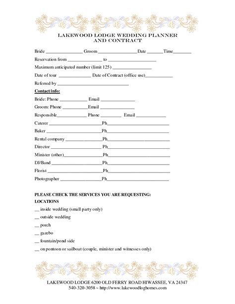 Wedding Planner Contract by 7 Best Images Of Printable Wedding Planner Contract