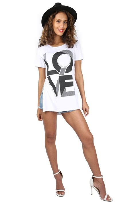 Dress Tunik Sogan Selling womens printed side split slit logo slogan dress tunic t shirt top ebay