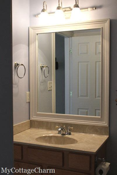 Framing Bathroom Mirror With Molding How To Add Molding To Mirrors Attach With Loctite Power Grab Maybe One Day I Ll Try
