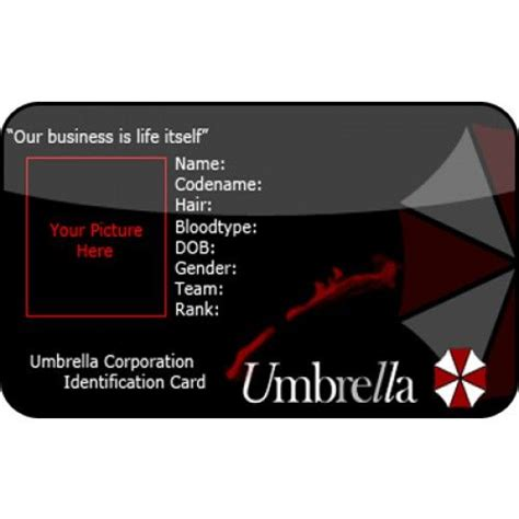 Umbrella Corporation Id Card Template by Resident Evil Umbrella Id Card From The Identity