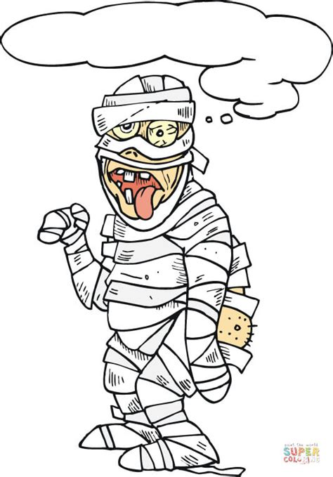 mummy coloring pages scary mummy with his tongue hanging out coloring page