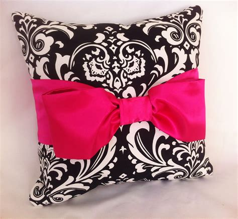 pink black white damask bedroom polyvore decorative pillow black white damask hot pink satin