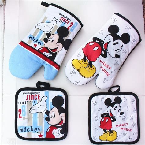 Oven Tangkring Mickey Mouse aliexpress buy mickey mouse microwave glove potholder bakeware blue and white 100 cotton