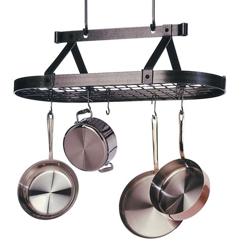Hanging Saucepan Rack 3 Foot Oval Hanging Pot Rack In Hanging Pot Racks