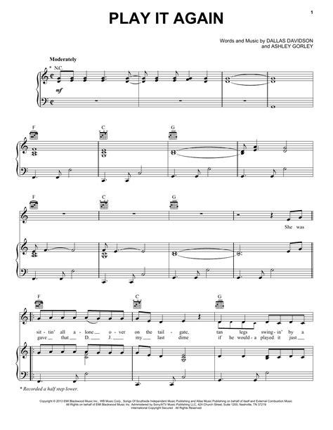 luke bryan guitar chords play it again sheet music by luke bryan piano vocal