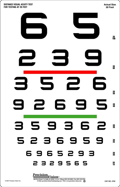 color acuity test near vision acuity chart printable eye chart template