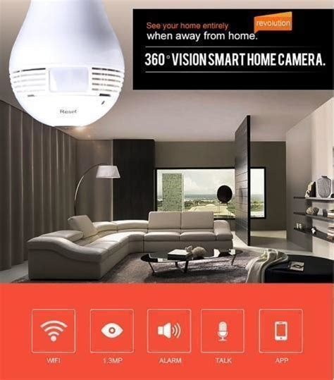 fisheye 360 degree panoramic wifi bulb home surveillance