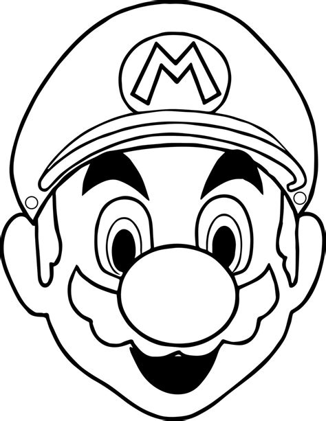 mario head coloring page halloween masks super mario face coloring page