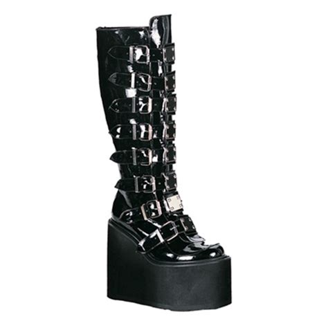 Demonia Swing 101 by Demonia Swing 815 Knee High Buckle Boots Demonia
