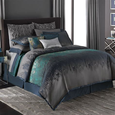 pinterest bedding jennifer lopez exotic plume peacock feather teal queen