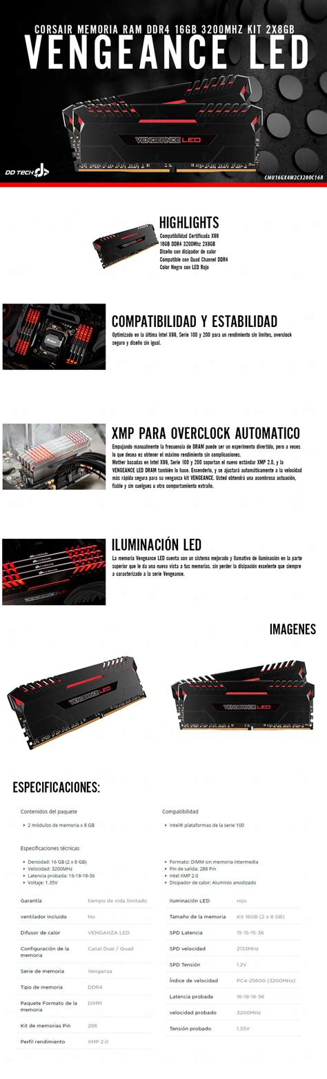 Ram Ddr4 Corsair Vengeance Led 1x8gb Memoria Ram Ddr4 16gb 3200mhz Corsair Lpx Led Kit 2x8gb Negro Led Rojo Dd Tech