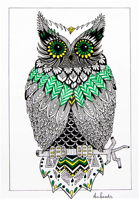 Zentangle Owl By Anbeads On Deviantart Really Owl Drawings With Color