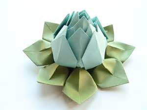 How To Make Lotus Flower From Paper Origami Lotus Flower In Robin S Egg Blue And Moss By