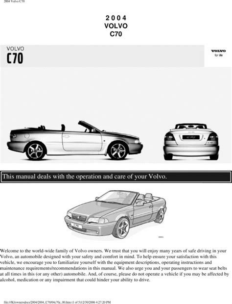 car repair manuals download 2009 volvo c70 electronic valve timing 04 volvo c70 2004 owners manual download manuals technical